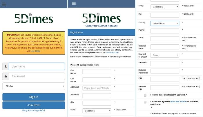 5Dimes mobile app