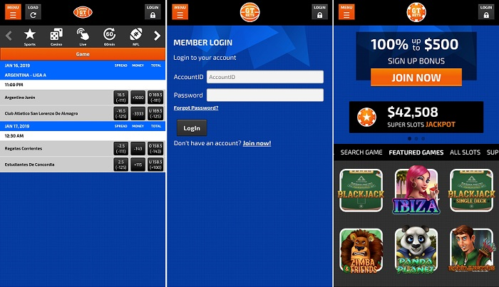GTBets mobile application on the iPhone