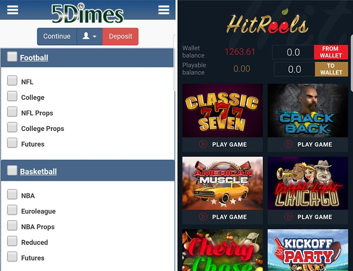 Screenshots of the 5Dimes app