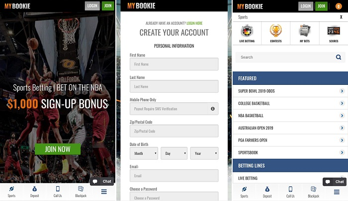 Android mobile app - MyBookie.ag sportbook