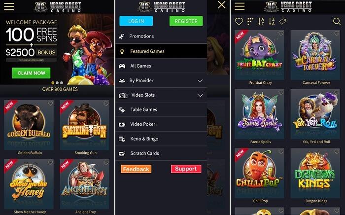 Vegas Crest - US friendly mobile casino